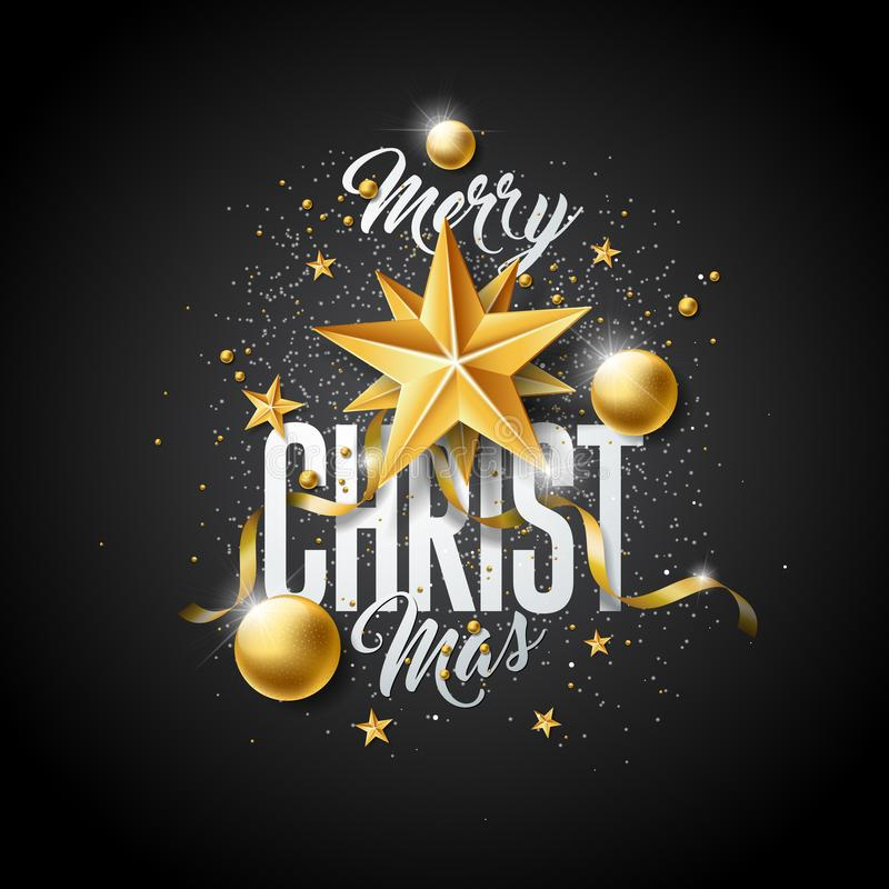 Ejemplo de la Feliz Navidad del vector con la bola de cristal del oro, la estrella del papel del recorte y los elementos de la ti ilustración del vector