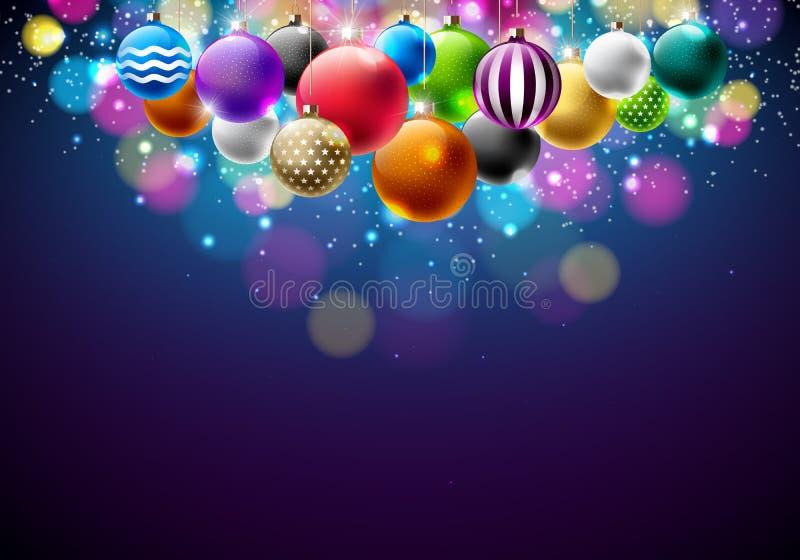 Ejemplo de la Feliz Navidad del vector con las bolas ornamentales multicoloras en fondo azul brillante Diseño de la Feliz Año Nue stock de ilustración