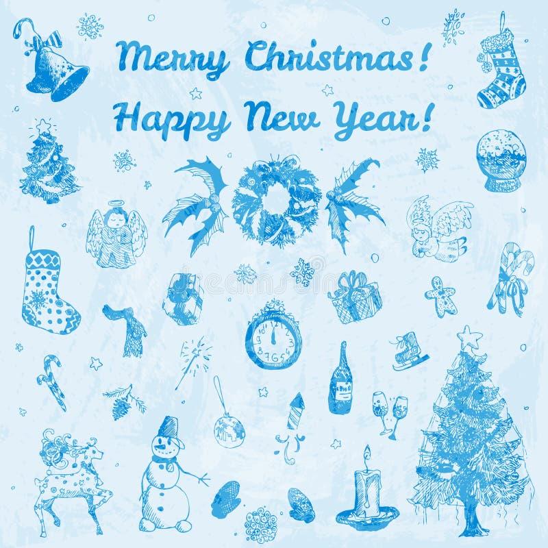 Ejemplo de la Feliz Navidad dibujada mano del garabato y de la Feliz Año Nuevo Imágenes azules, fondo azul claro de la acuarela ilustración del vector