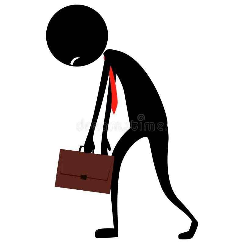Ejemplo de la figura hombre del palillo de negocios de la silueta que siente cansado ilustración del vector