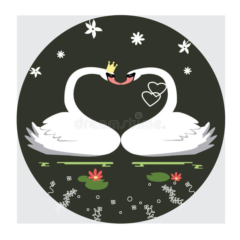 Ejemplo de la forma del cisne y del corazón de los pares imágenes de archivo libres de regalías