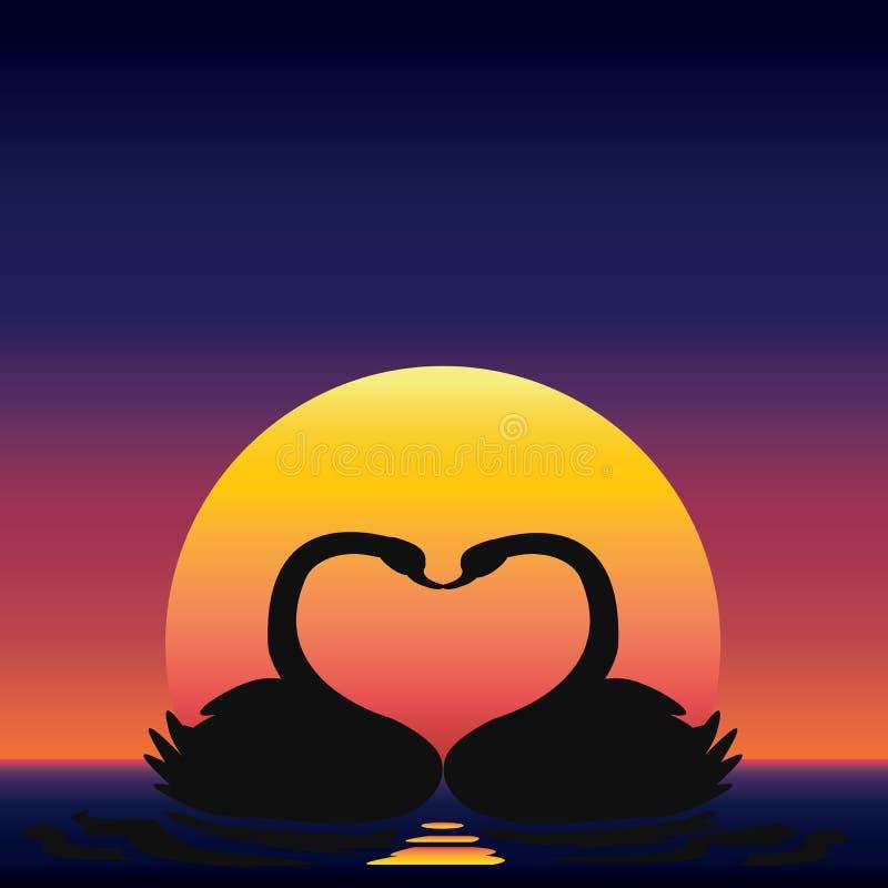 Ejemplo de la forma del cisne y del corazón de los pares imagenes de archivo