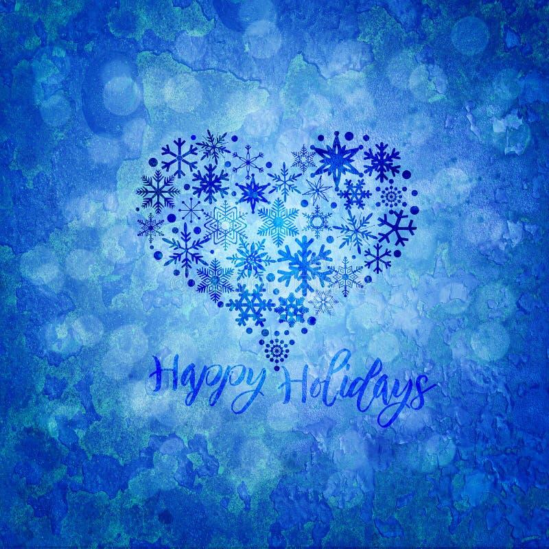 Ejemplo de la forma del corazón de los copos de nieve de la Navidad buenas fiestas stock de ilustración
