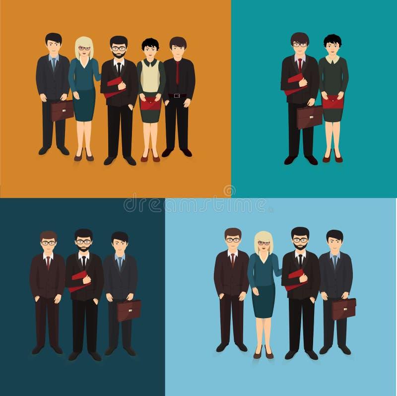 Ejemplo de la formación del hombre y de la mujer de negocios libre illustration