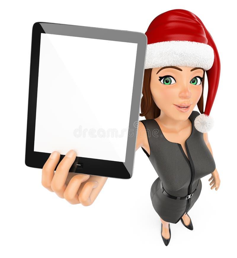 ejemplo de la gente de la Navidad 3d Empresaria con el sombrero de santa y la tableta en blanco Fondo blanco aislado libre illustration