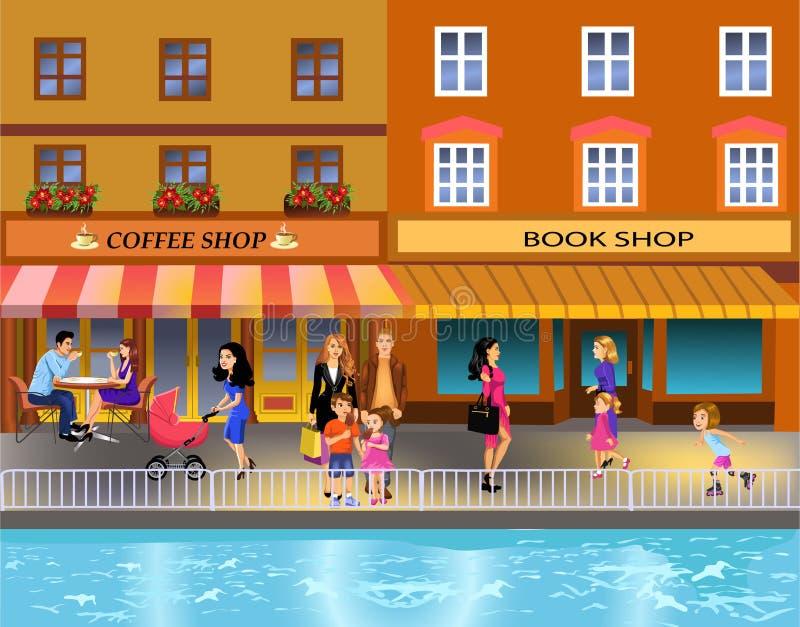 Ejemplo de la gente que camina en el centro de la ciudad por la orilla ilustración del vector