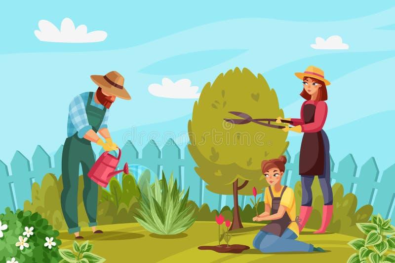 Ejemplo de la gente que cultiva un huerto stock de ilustración