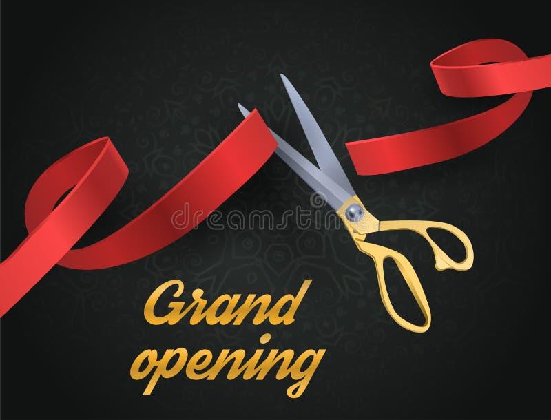Ejemplo de la gran inauguración con las tijeras rojas de la cinta y del oro aisladas en negro stock de ilustración