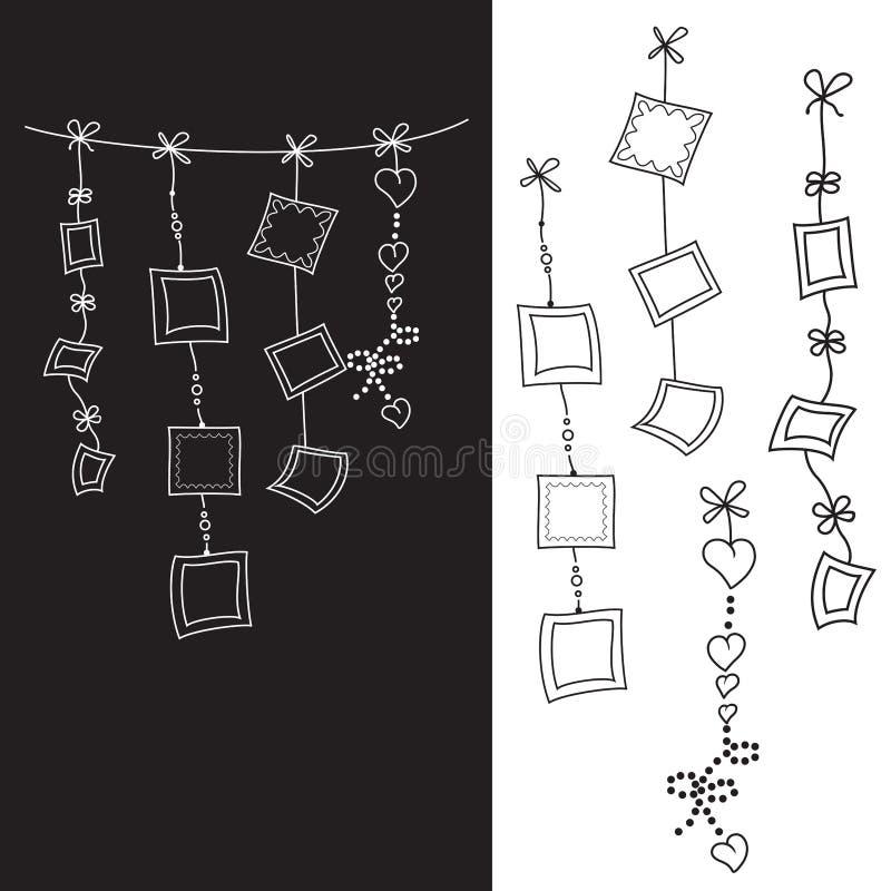 Ejemplo de la guirnalda con los marcos cuadrados en el fondo blanco y negro para el partido de los niños, decoraciones para conce stock de ilustración