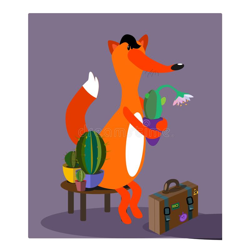 Ejemplo de la historieta de la caza del ratón del invierno del cactus del ejemplo del vector del Fox de un ejemplo del bebé libre illustration