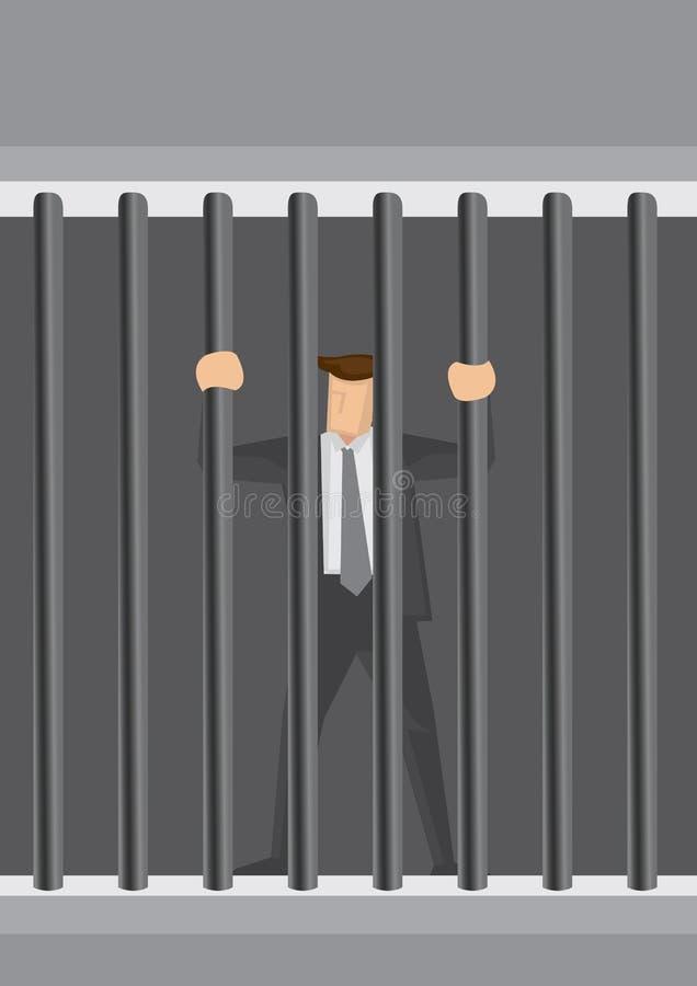 Ejemplo de la historieta de Behind Bars Vector del hombre de negocios ilustración del vector