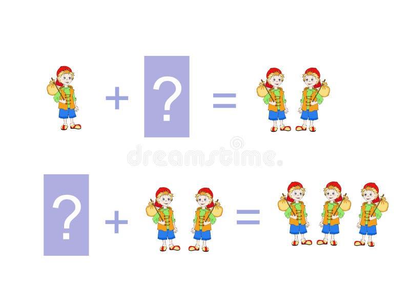 Ejemplo de la historieta de la adición matemática stock de ilustración