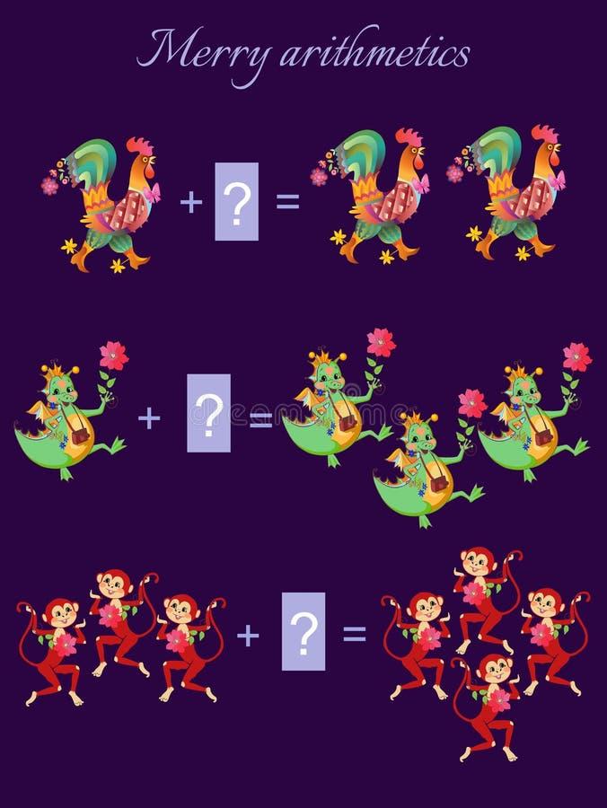 Ejemplo de la historieta de la adición matemática libre illustration