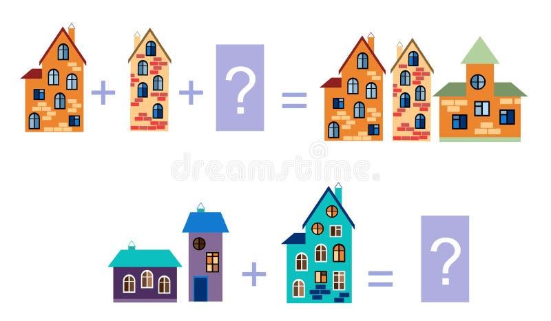 Ejemplo de la historieta de la adición matemática Ejemplos con las casas libre illustration