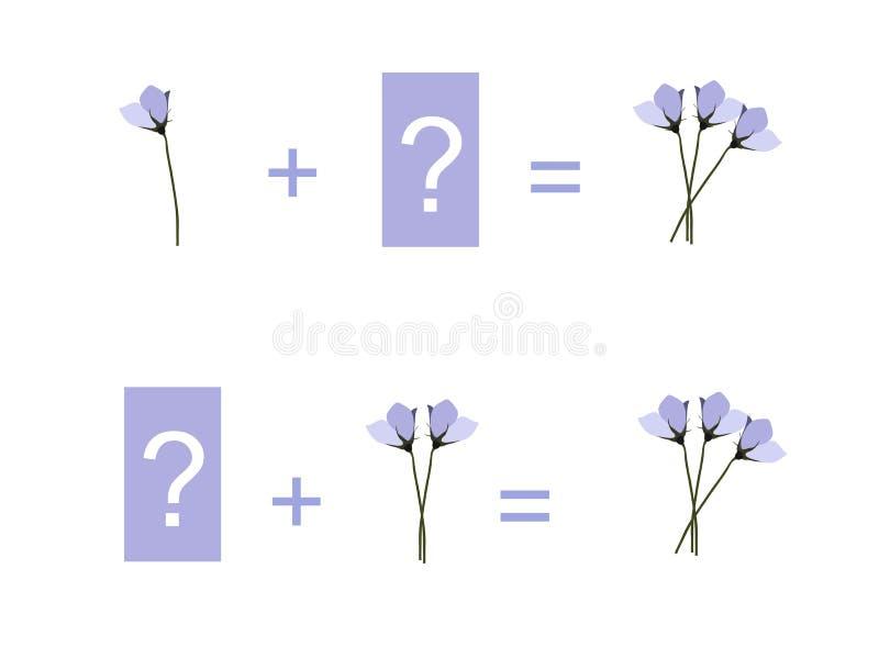 Ejemplo de la historieta de la adición matemática Ejemplos con las flores ilustración del vector