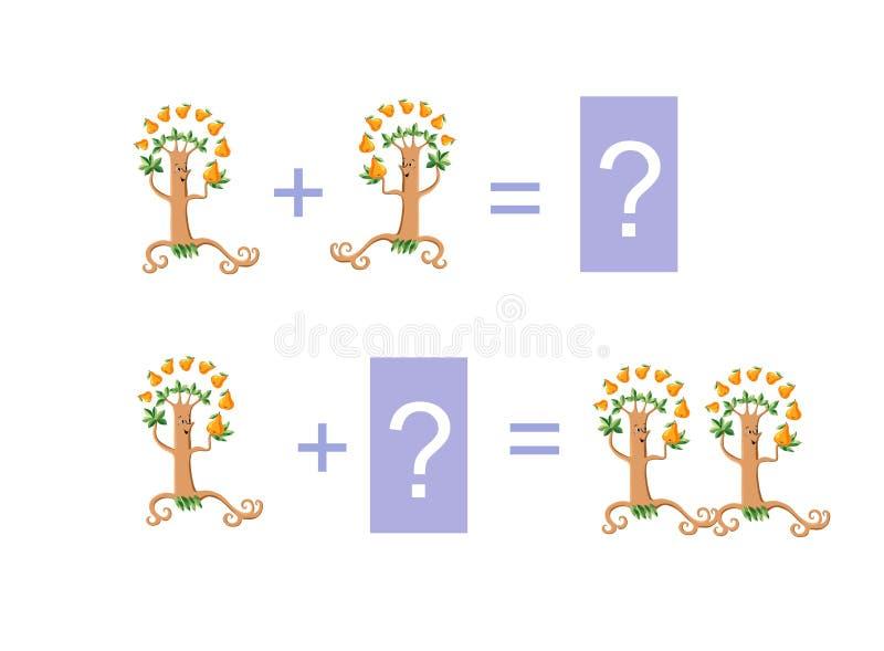 Ejemplo de la historieta de la adición matemática Ejemplos con los perales divertidos stock de ilustración