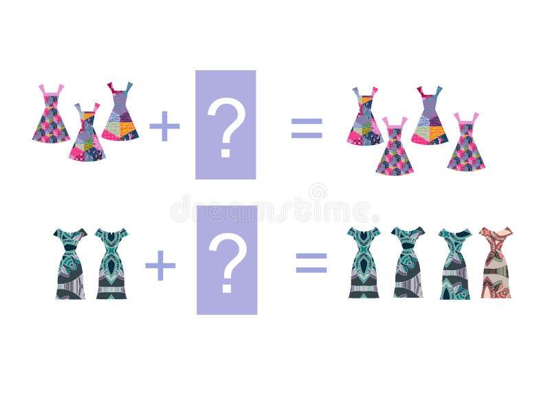 Ejemplo de la historieta de la adición matemática Ejemplos con los vestidos ilustración del vector
