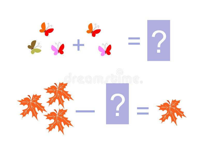 Ejemplo de la historieta de la adición y de la substracción matemáticas ilustración del vector