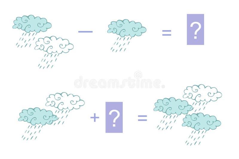 Ejemplo de la historieta de la adición y de la substracción matemáticas libre illustration