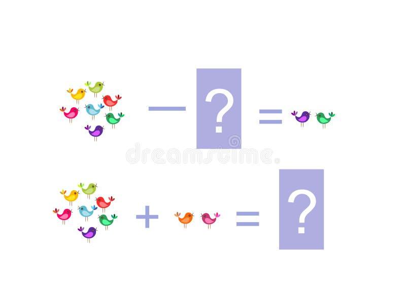 Ejemplo de la historieta de la adición y de la substracción matemáticas Ejemplos con los pequeños pájaros coloridos ilustración del vector
