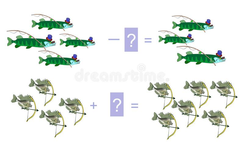 Ejemplo de la historieta de la adición y de la substracción matemáticas Ejemplos con los pescados libre illustration