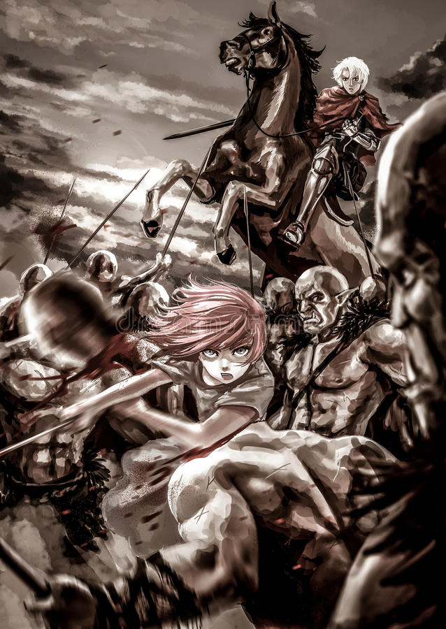 Ejemplo de la historieta de la fantasía de una muchacha femenina del guerrero y de un caballero masculino ilustración del vector