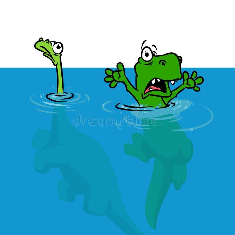 Ejemplo de la historieta de la inundación de la hipótesis del dinosaurio stock de ilustración