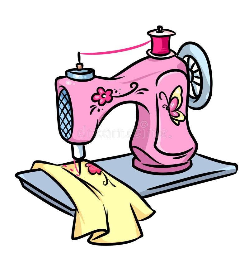 Ejemplo de la historieta de la máquina de coser stock de ilustración