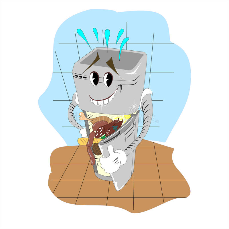 Ejemplo de la historieta de un refrigerador ilustración del vector