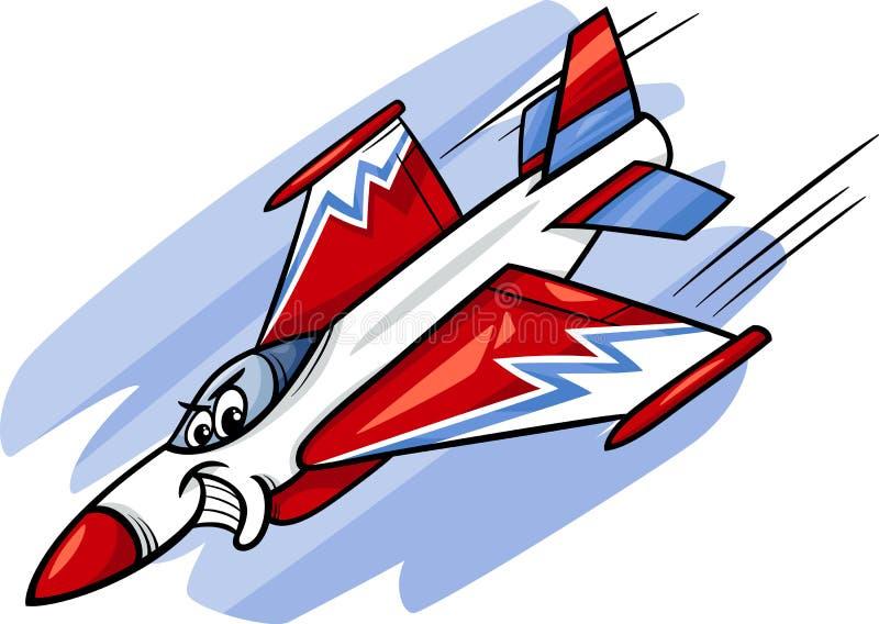 Ejemplo de la historieta del avión de caza a reacción stock de ilustración
