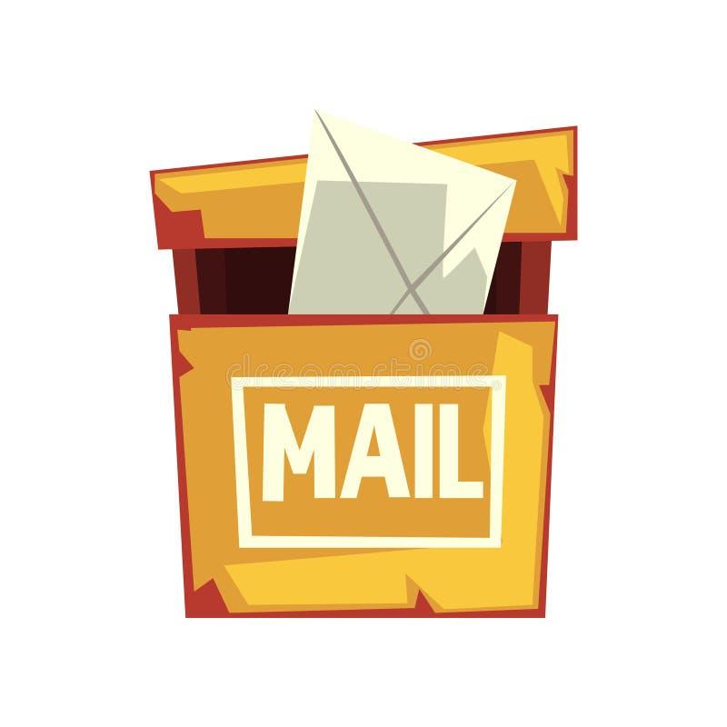 Ejemplo de la historieta del buzón lamentable con el sobre de la letra Buzón de correos amarillo viejo de la ejecución Diseño pla ilustración del vector