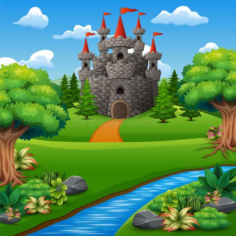 Ejemplo de la historieta del castillo en paisaje de la colina libre illustration