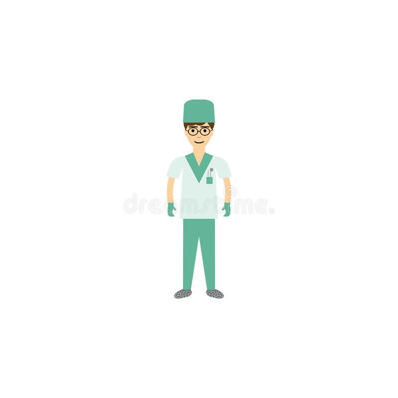 ejemplo de la historieta del cirujano Elemento del icono de la historieta de la profesión para los apps móviles del concepto y de ilustración del vector