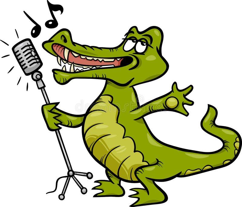 Ejemplo de la historieta del cocodrilo del canto ilustración del vector