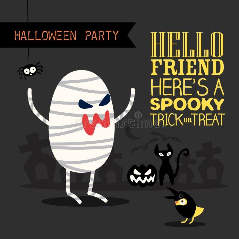 Ejemplo de la historieta del fondo del partido de Halloween stock de ilustración