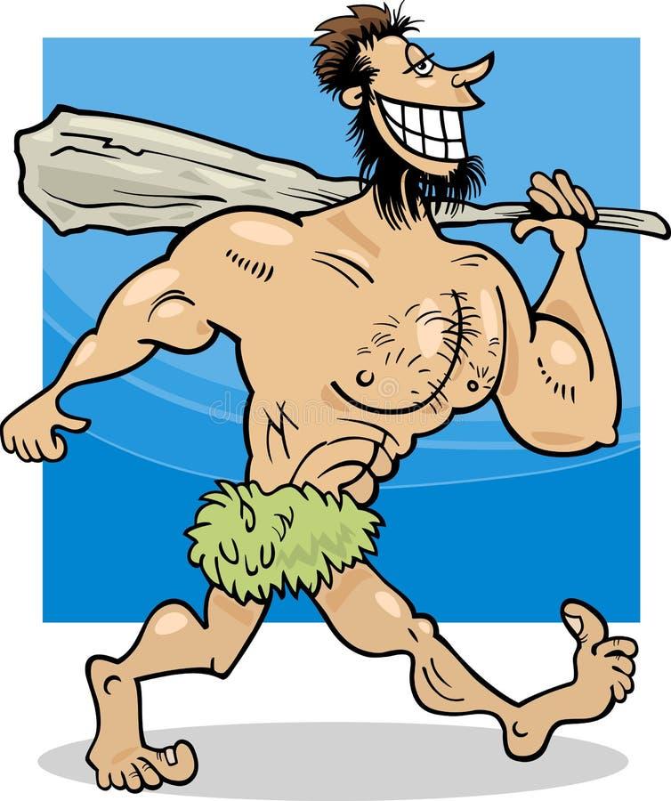 Ejemplo de la historieta del hombre de las cavernas stock de ilustración