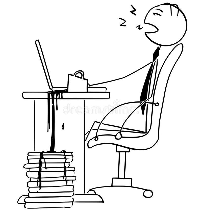 Ejemplo de la historieta del hombre de negocios cansado Sleeping en ingenio de la oficina stock de ilustración
