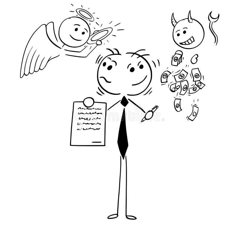 Ejemplo de la historieta del hombre de negocios o del vendedor Offering Contrac ilustración del vector