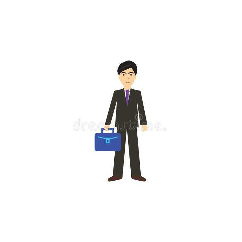 Ejemplo de la historieta del hombre de negocios Elemento del icono de la historieta de la profesión para los apps móviles del con stock de ilustración