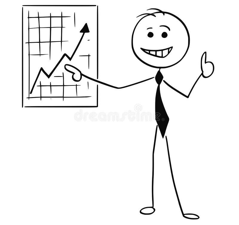 Ejemplo de la historieta del hombre de negocios sonriente que señala en la pared stock de ilustración