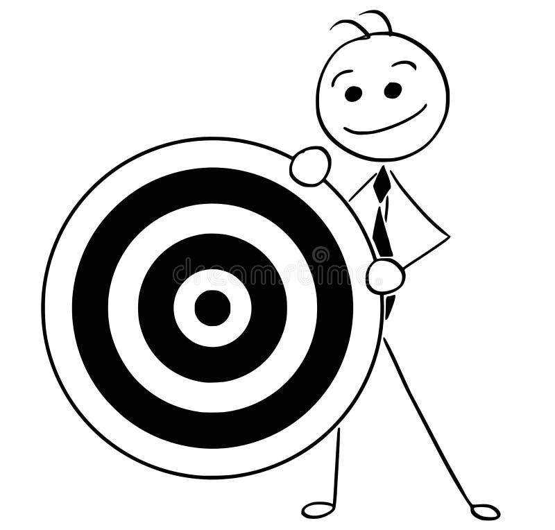 Ejemplo de la historieta del hombre de negocios sonriente que sostiene la diana ilustración del vector
