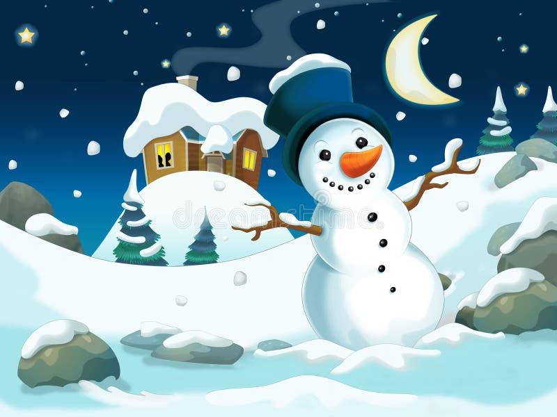 Ejemplo de la historieta del invierno para los niños stock de ilustración