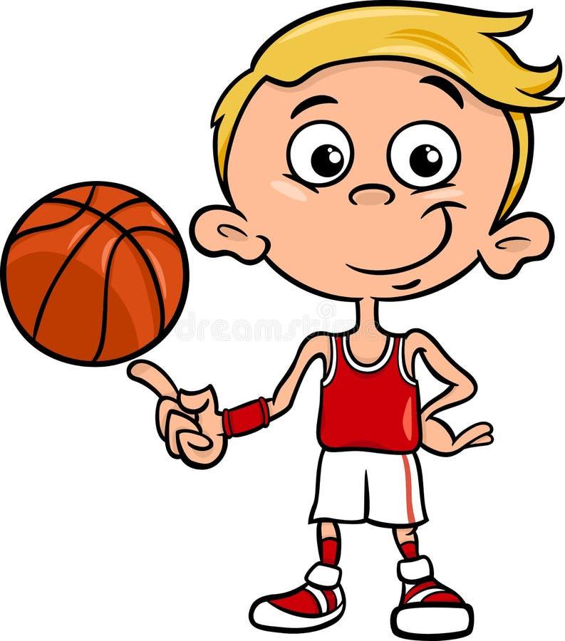 Ejemplo de la historieta del jugador de básquet del muchacho stock de ilustración