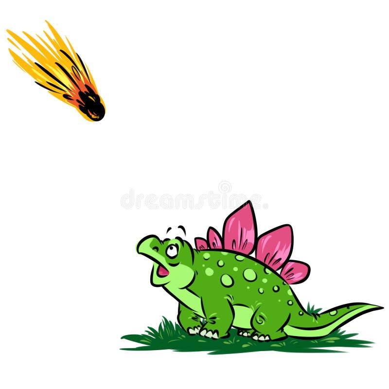 Ejemplo de la historieta del meteorito de la hipótesis del dinosaurio stock de ilustración