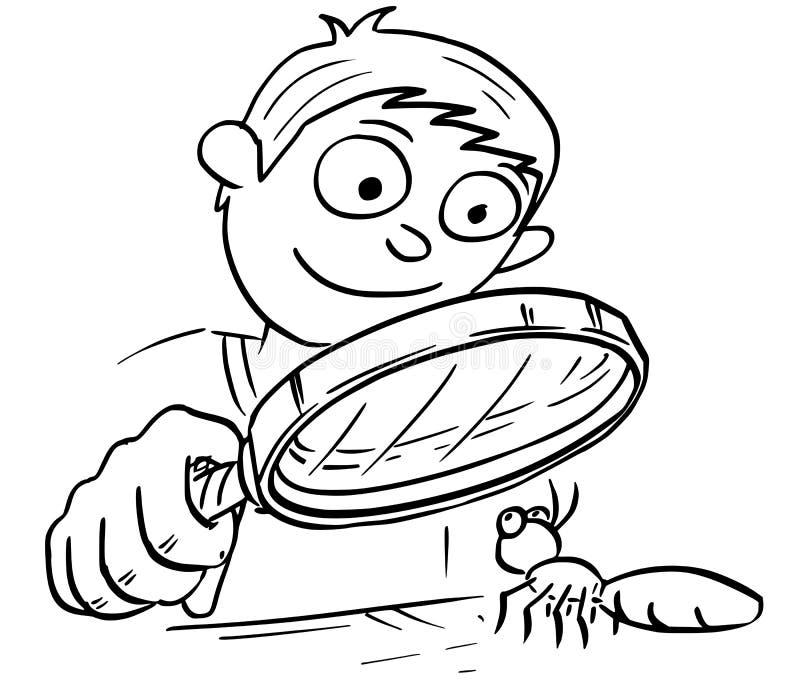 Ejemplo de la historieta del muchacho con la lupa de la mano que mira a ilustración del vector