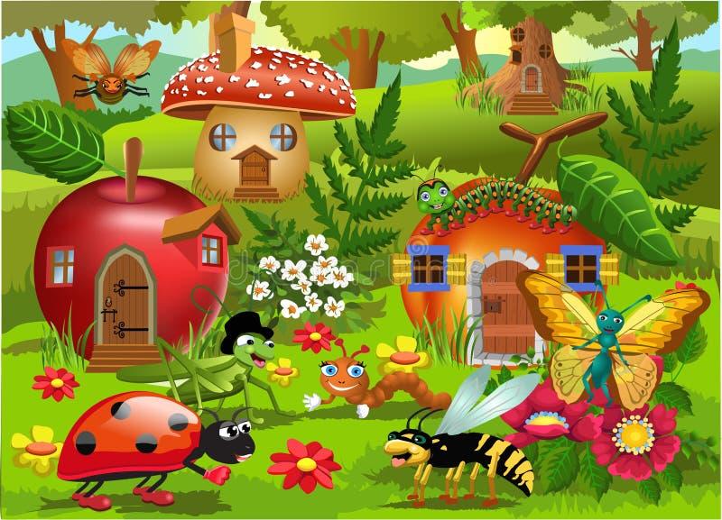 Ejemplo de la historieta del mundo del insecto con las casas de los insectos ilustración del vector