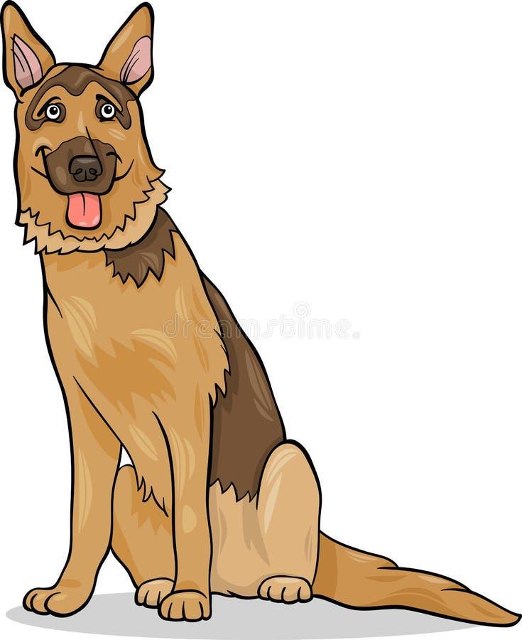 Ejemplo de la historieta del perro de pastor alemán stock de ilustración