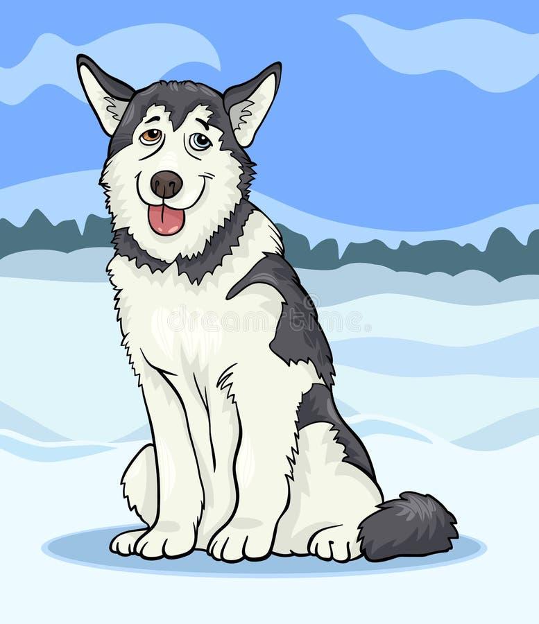 Ejemplo de la historieta del perro del perro esquimal o del malamute ilustración del vector