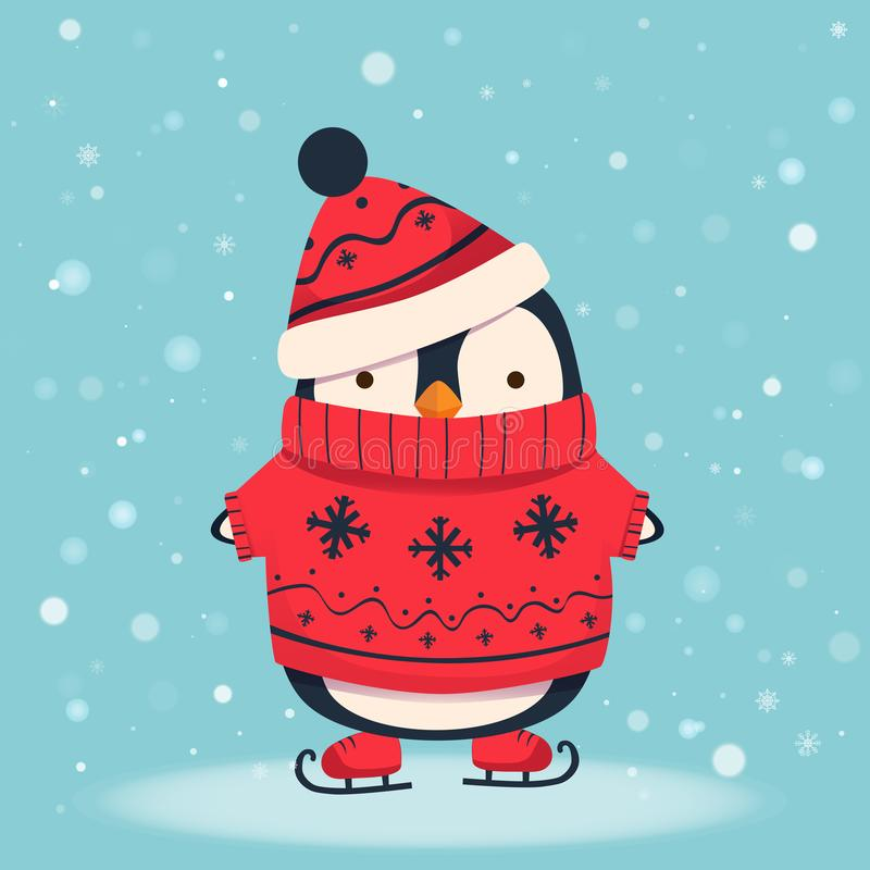 Ejemplo 1 de la historieta del pingüino stock de ilustración