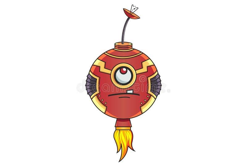 Ejemplo de la historieta del robot lindo del hierro stock de ilustración